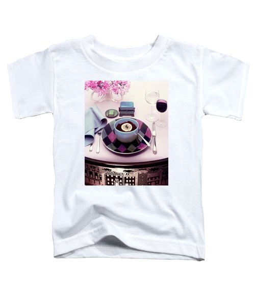 A Bowl Of Food On A Pink Table Toddler T-Shirt