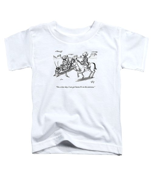 A Cowboy Rides A Horse Next To Another Cowboy Who Toddler T-Shirt