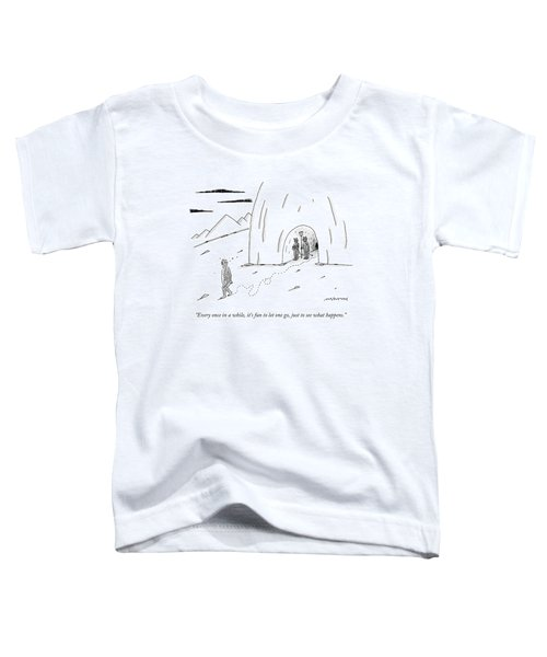 A Dazed, Naked Man Leaving Hell While The Devil Toddler T-Shirt