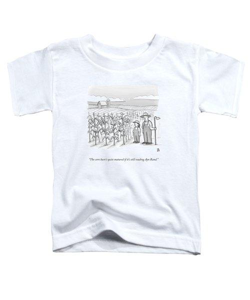 A Farmer And His Daughter Look At Cornstalks Who Toddler T-Shirt