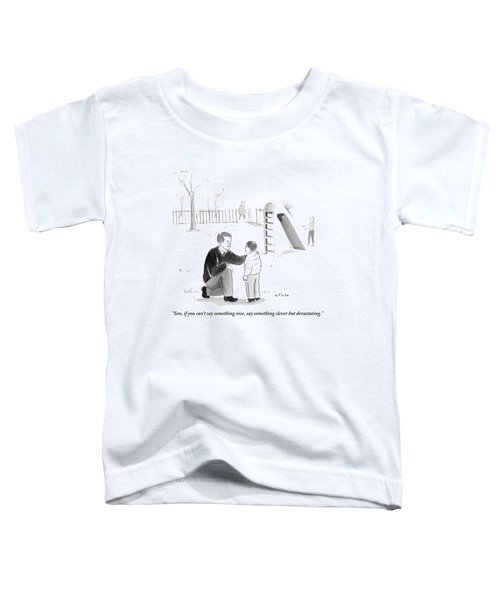 A Father Encourages His Son At The Playground Toddler T-Shirt