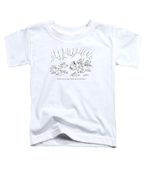 A Group Of Angels Fly In The Clouds.  One Toddler T-Shirt