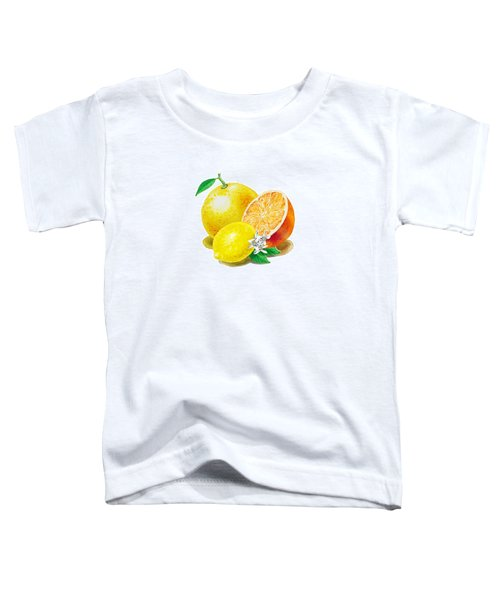 Toddler T-Shirt featuring the painting A Happy Citrus Bunch Grapefruit Lemon Orange by Irina Sztukowski