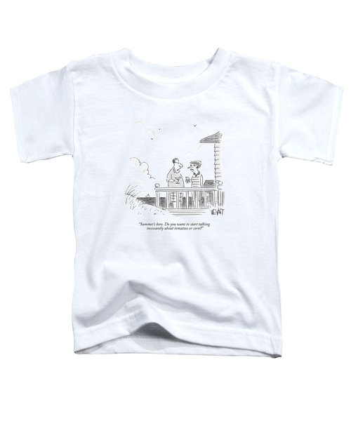 A Husband Talks To A Wife On A Porch Of A Beach Toddler T-Shirt