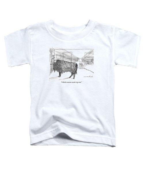 A Large Buffalo Stands Near The Door Toddler T-Shirt