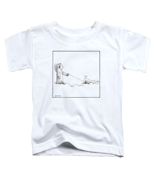 A Male Angel Walks His Dog On A Leash Across Some Toddler T-Shirt