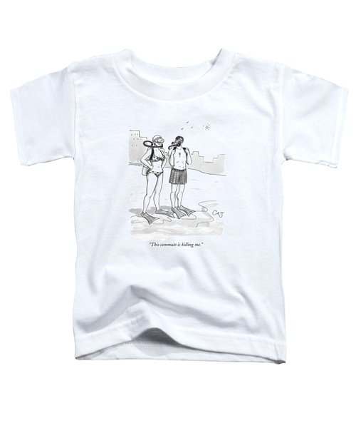 A Man And A Woman In Swimsuits And Diving Gear Toddler T-Shirt