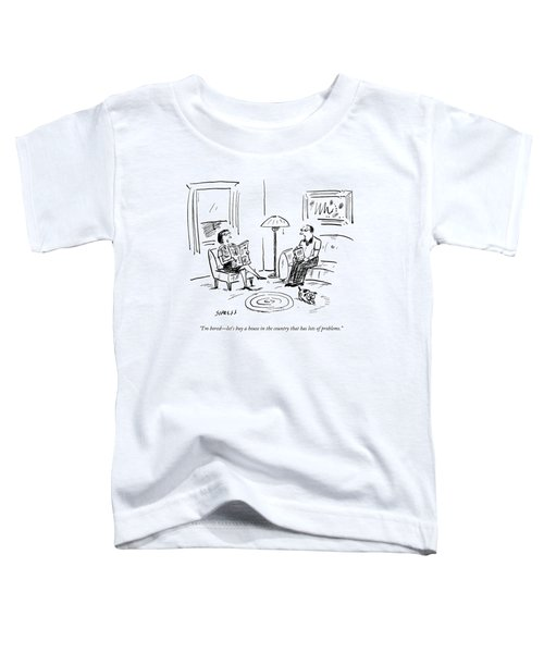 A Man And A Woman Talk In Their Living Room Toddler T-Shirt by David Sipress