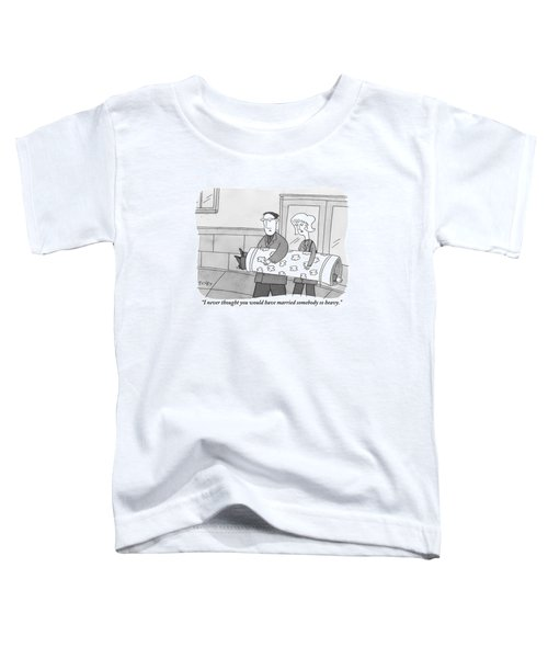 A Man And Woman Are Seen Carrying A Rolled Up Rug Toddler T-Shirt