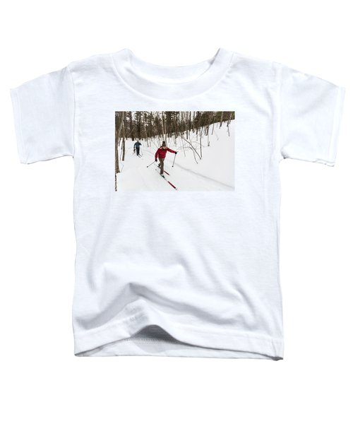 A Man And Woman Cross Country Skiing Toddler T-Shirt