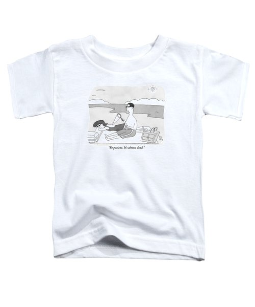 A Man At The Beach Aims A Magnifying Glass Toddler T-Shirt