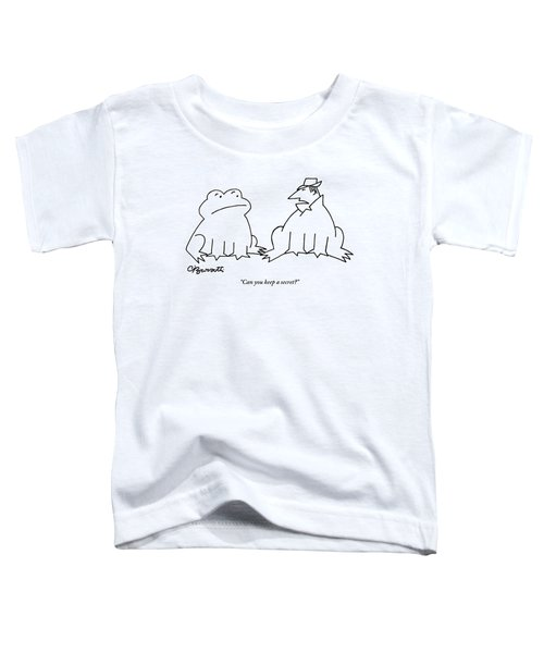A Man In A Frog's Suit Talking And Standing Next Toddler T-Shirt by Charles Barsotti