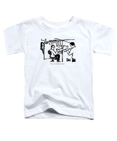 A Man Is Seated In His Cubicle With A Megaphone Toddler T-Shirt