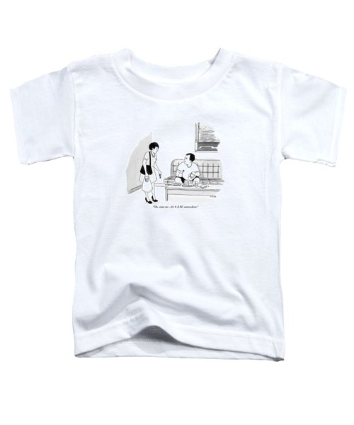 A Man Sits Pouring Syrup Over A Stack Of Pancakes Toddler T-Shirt