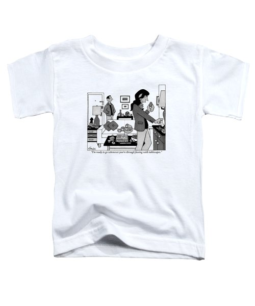 A Man Stands By The Front Door Talking Toddler T-Shirt
