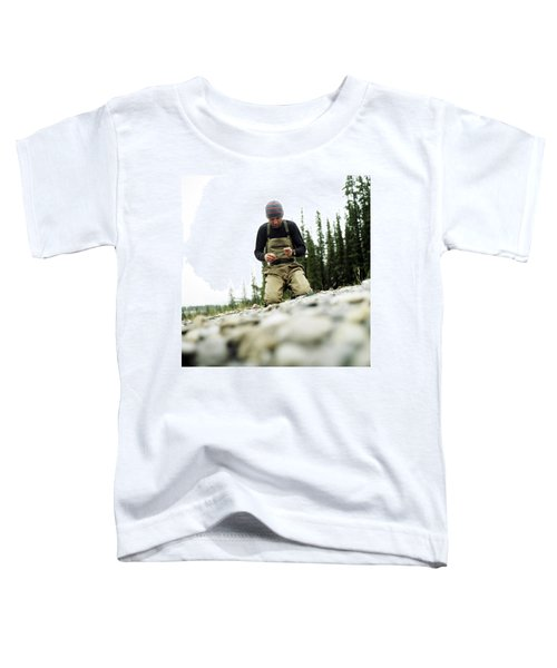 A Man Ties A Fly Beside The Bow River Toddler T-Shirt