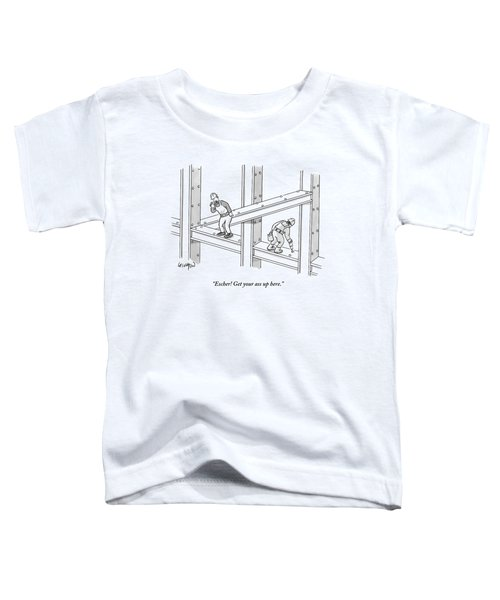A Men Works On The Sky Scraper  Beams Toddler T-Shirt by Robert Leighton