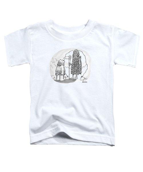 A Prehistoric Grim Reaper Wearing Animal Print Toddler T-Shirt