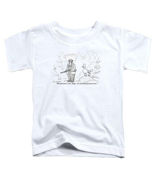 A Rough-looking Man Holding A Shotgun Speaks Toddler T-Shirt