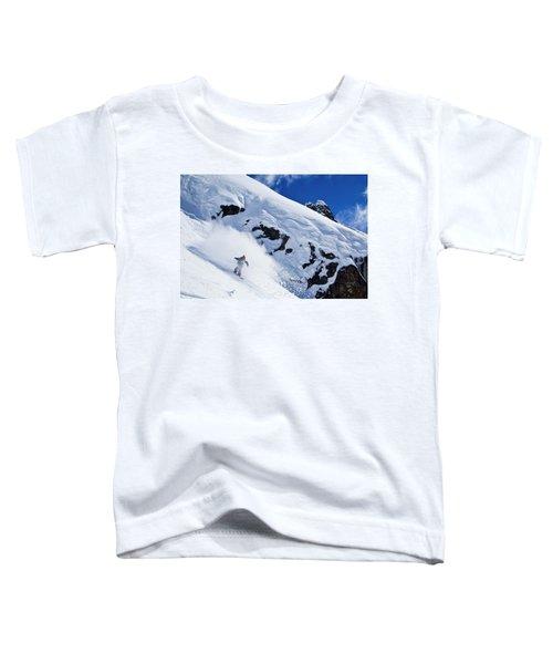 A Snowboarder Slashes Powder Snow Toddler T-Shirt