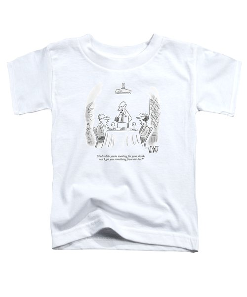 A Waiter Speaks To A Couple At A Restaurant Table Toddler T-Shirt