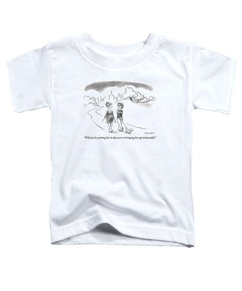 A Woman Walking A Small Dog Asks Her Pregnant Toddler T-Shirt