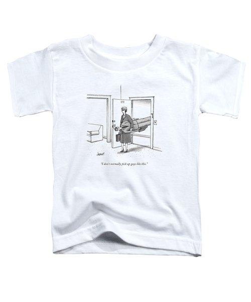 A Woman Walks Through A Door Carrying A Man Toddler T-Shirt