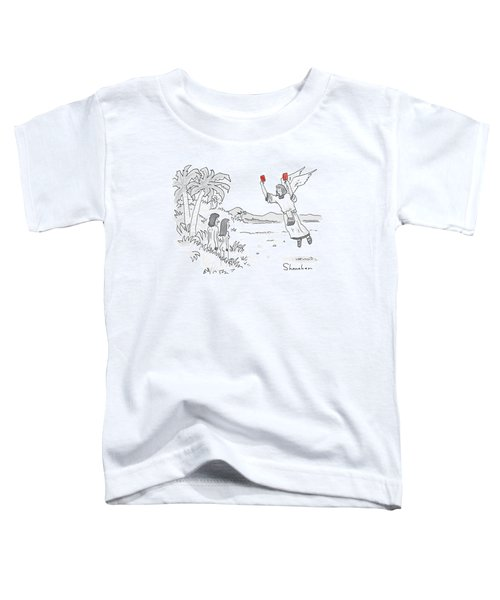 An Angel Holds Up Two Red Cards To Adam And Eve Toddler T-Shirt