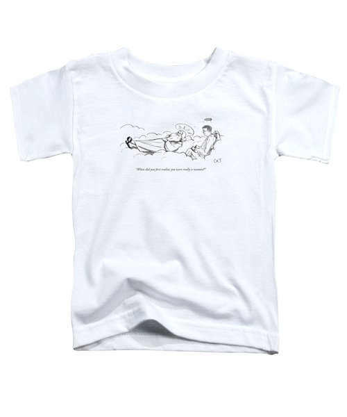 An Angel Therapist Takes Notes As God Lays Toddler T-Shirt