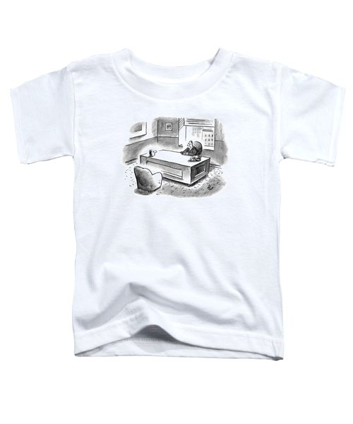 An Executive Sits At His Desk And An Employee's Toddler T-Shirt