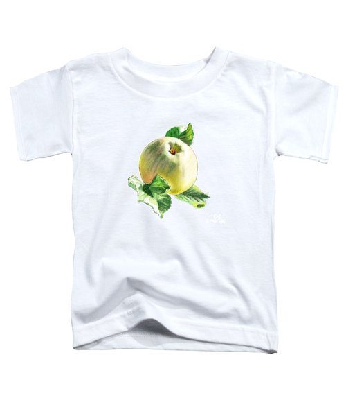 Toddler T-Shirt featuring the painting Artz Vitamins Series A Happy Green Apple by Irina Sztukowski