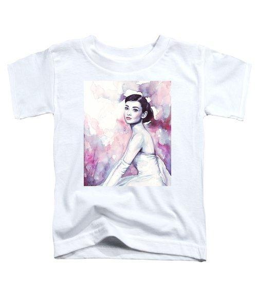 Audrey Hepburn Purple Watercolor Portrait Toddler T-Shirt by Olga Shvartsur