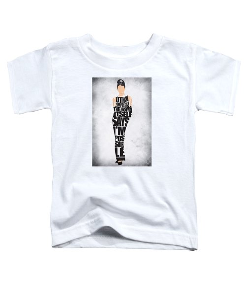 Audrey Hepburn Typography Poster Toddler T-Shirt by Ayse Deniz