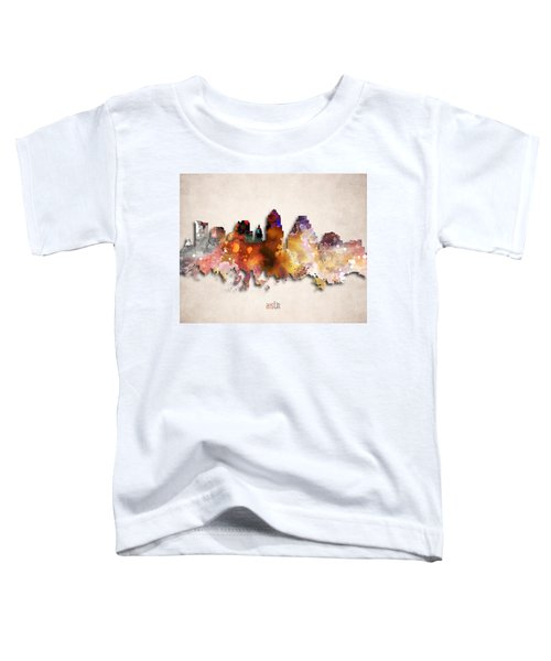Austin Painted City Skyline Toddler T-Shirt by World Art Prints And Designs