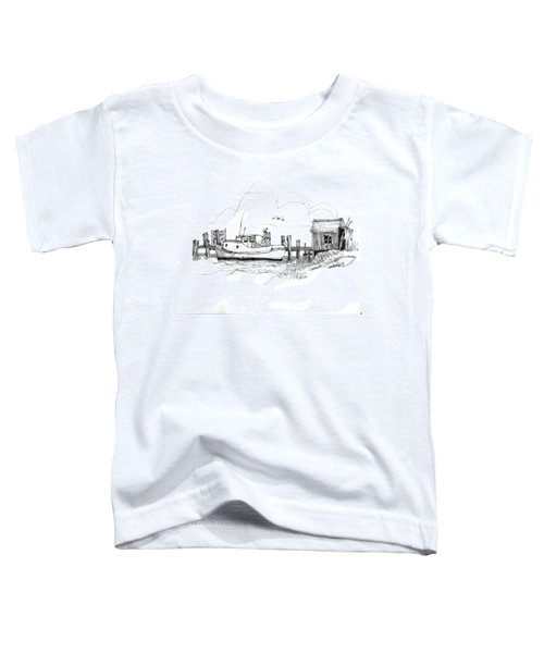 Awaiting Bluefish Run Ocracoke Nc 1970s Toddler T-Shirt