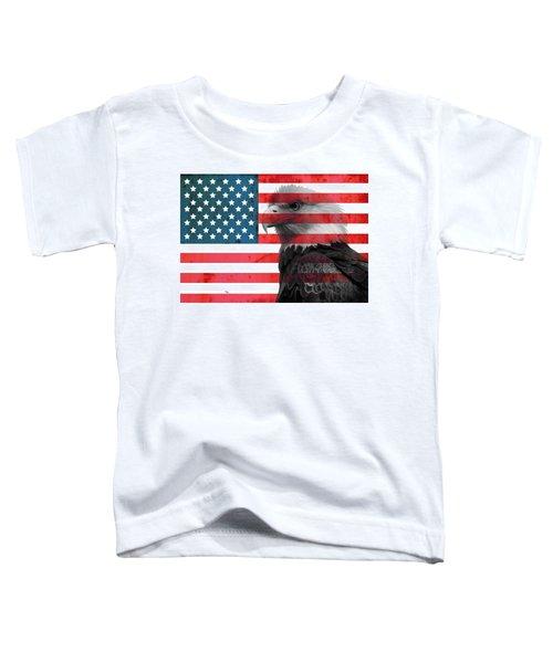 Bald Eagle American Flag Toddler T-Shirt