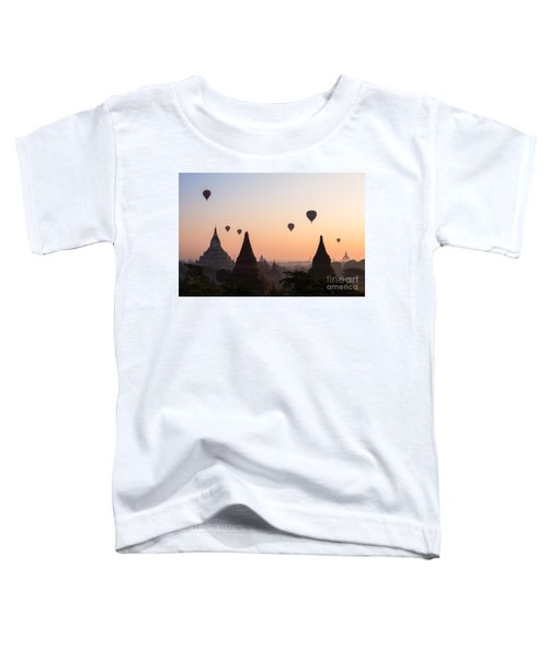Ballons Over The Temples Of Bagan At Sunrise - Myanmar Toddler T-Shirt