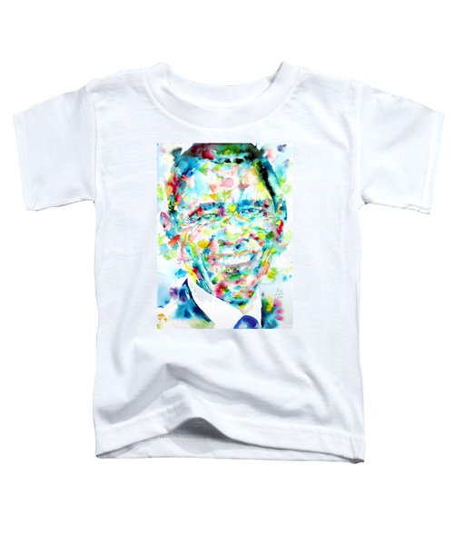 Barack Obama - Watercolor Portrait Toddler T-Shirt by Fabrizio Cassetta