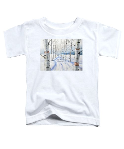 Birch Trees Along The Curvy Road Toddler T-Shirt