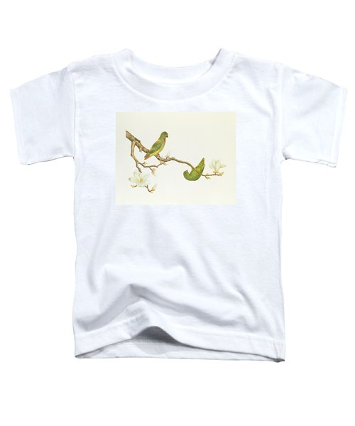 Blue Crowned Parakeet Hannging On A Magnolia Branch Toddler T-Shirt by Chinese School