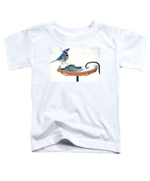 Blue Jay At Heated Birdbath Toddler T-Shirt