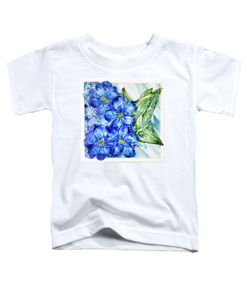 Blue Springy Flowers Alcohol Inks Toddler T-Shirt