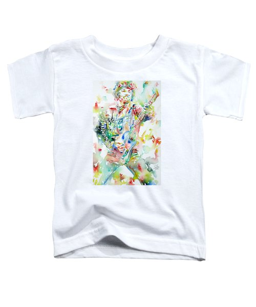 Bruce Springsteen Playing The Guitar Watercolor Portrait Toddler T-Shirt by Fabrizio Cassetta