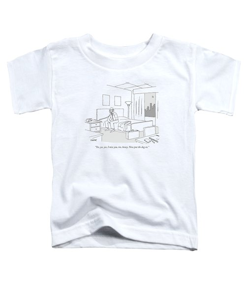 Businessman Sitting On A Bed In Hotel Room Toddler T-Shirt by Jack Ziegler