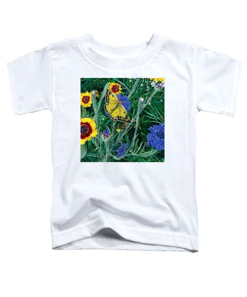 Butterfly And Wildflowers Spring Floral Garden Floral In Green And Yellow - Square Format Image Toddler T-Shirt