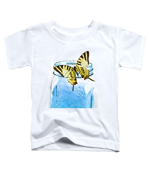Butterfly On A Blue Jar Toddler T-Shirt by Bob Orsillo