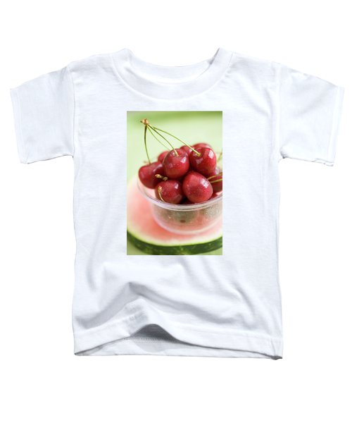 Cherries In Plastic Tub On Slice Of Watermelon Toddler T-Shirt