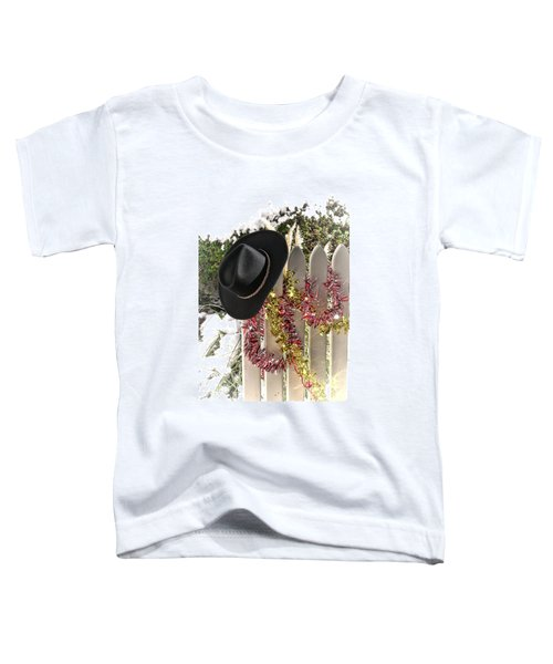 Christmas Cowboy Hat On A Fence Toddler T-Shirt