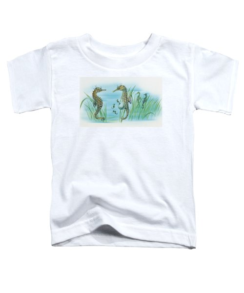 Close-up Of A Male Sea Horse Expelling Young Sea Horses Toddler T-Shirt