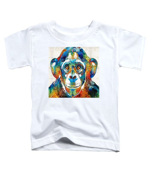 Colorful Chimp Art - Monkey Business - By Sharon Cummings Toddler T-Shirt by Sharon Cummings